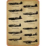 CharcasUS WWII Fighter Planes Metal Tin Sign Wall Decor Man Cave Military Fan Gift Home Bar Pub Decorative Military Posters 1