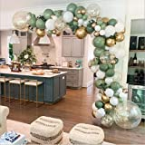 LDFWAYAU Olive Green Balloon Garland Arch Kit DIY Party Decorations White Gold Confetti Balloons Sage Green Balloon and Gold