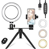 Neewer 6-inch LED Ring Light with Tripod Stand for Makeup YouTube Video, Mini USB LED Camera Light with Phone Holder, Dual Mo