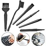 SODIAL 6 in 1 Plastic Small Portable Handle Nylon Anti Static Brushes Cleaning Keyboard Brush Kit, Black (Zip Bag)