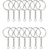 KINGFO 100PCS Split Key Ring with Chain and Jump Rings Nickel Plated Split Key Ring with Chain Silver Color Metal Split Key C