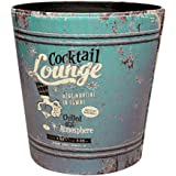 Fcoson Paper Wastebasket Without Lid Round PU Leather Trash Can Creative Retro European Style Garbage Bin Recycle Dustbin for