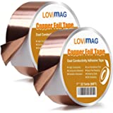 Copper Foil Tape (1inch X 66 FT X 2) with Conductive Adhesive for Guitar and EMI Shielding, Slug Repellent, Crafts, Electrica