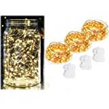 Pack of 3 Sets Outdoor Fairy Lights Battery Operated, Warm White String Lights 20 Feet 60 LEDs Copper Wire Firefly Light for