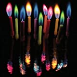 Amazing Colorflame Multicolor Happy Birthday Candles and Holders (Set of 12)