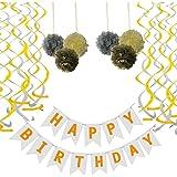 White Happy Birthday Banner, with 6 Tissue Pom Poms 2 Gold 2 Yellow 2 Silver, 6 Swirls 3 Gold 3 Silver, for Birthday Decorati