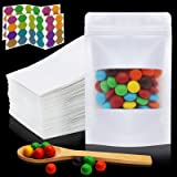 Mylar Bags with Ziplock and Window, 100 Pcs Kraft Paper Stand Up Bags and pouches with Stickers and Spoon, 4X6 inch Resealabl