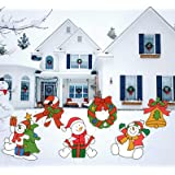 GAGEC 6 Pcs Christmas Yard Signs with Stakes Decorations Outdoor -Funny Snowman Wreath Bells Kit Decor Signs for Home Lawn Pa