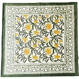 ATOSII 'Tropical Summer' Home Linen 100% Cotton Cloth Dinner Napkins - 20 x 20 inch (Green) Oversized - Set of 4 - Handmade F