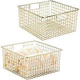 mDesign Metal Bathroom Storage Organizer Basket Bin - Farmhouse Decor, Grid Design - Organization for Cabinets, Shelves, Clos
