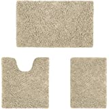 HOMEIDEAS Microfiber Absorbent Bath Rug, Chenille Washable Floor Mat -Non Slip Soft Carpet Modern Beige
