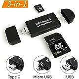 【Type-C/Micro usb/USB 3in1】メモリカードリーダー SDメモリーカードリーダー USBマルチカードリーダー OTG SD/Micro SDカード両対応 多機能 データ転送 Type-C/Micro usb/USB接続 パソコン
