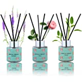 Binca Vidou Reed Diffuser Set of 3, Lavender Rose Vanilla Oil Reed Diffusers for Bedroom Living Room Office Aromatherapy Oil