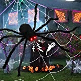 """FLY2SKY Halloween Spider Decorations, 50"""" Halloween Giant Spider with Glowing Red Eyes, Realistic Scary Spider Halloween Prop"""
