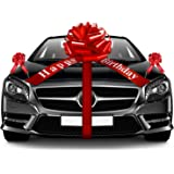 20 Inches Red Car Bow Happy Birthday Large Car Ribbon Bow and 5 Pieces 6 Inch Pull Bow for Christmas Party Car Decoration New
