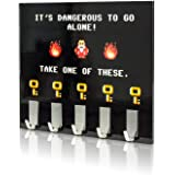 getDigital Dangerous to go alone Key Rack - Geeky Home and Office Decor Wall-Mounted Key Holder with 5 Metal Hooks - 21 x 16