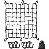 ツーリングネット バイクネット 42cm×42cmバイク用品 荷物 カーゴネット 伸縮性 荷物固定 荷崩れ防止 フック付き 収納袋付き ブラック