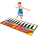 Piano Music Mat, Music Dance Mat Keyboard Playmat with 19 Keys Piano Mat, 8 Selectable Musical Instruments Build-in Speaker &