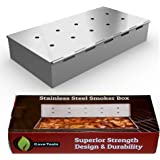 Smoker Box for BBQ Grill Wood Chips - 25% THICKER STAINLESS STEEL WON'T WARP - Charcoal & Gas Barbecue Meat Smoking with Hing