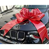 Large Red Car Bow Ribbon 23 Inchs- Decoration Wrap for Birthday, Wedding, and Giant Presents- Come with Two Suction Cup (Red)