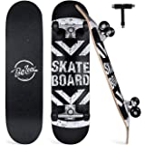 """BELEEV Skateboards for Beginners, 31""""x8"""" Complete Skateboard for Kids Teens & Adults, 7 Layer Canadian Maple Double Kick Deck"""
