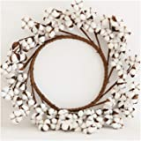"""Cotton Wreath - 18""""- 23"""" Adjustable Stems for Front Door Festival Hanging Decorations Welcome Decor Made from Real Natural Wh"""