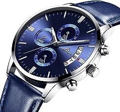 [メガリス]MEGALITH 腕時計ブルー 時計メンズ クロノグラフ防水ウオッチ薄型薄型 多針アナログクオーツ腕時計レザー 日付表示 ラグジュアリー おしゃれ ビジネス カジュアル 男性腕時計