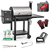 ASMOKE Wood Pellet Grill and Smoker Kit with 18KG 100% Pure Apple Wood Pellets, 4517 SQ.CM. Cooking Area 8 in 1 BBQ Grill Set