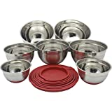 Checkered Chef Stainless Steel Mixing Bowls Set of 7 - XL to Small - Nesting Stackable Stainless Steel Bowls with Lids and No