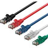Rankie RJ45 Cat6 Snagless Ethernet Patch Cable, 5-Pack, 5 Feet, 5-Color Combo