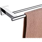 KLXHOME Bathroom Double Towel Bar 24-Inch Stainless Steel Bath Hand Towel Rack Wall Mount Polished Finish, A02C60B