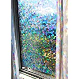 "Decorative Rainbow Window Film Holographic Prismatic Etched Glass Effect - Fill Your House with Rainbow Light 24"" X 36"" Panel"