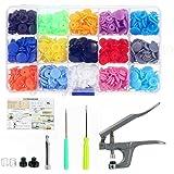 640PCS T5 Plastic Snaps Fastener Buttons Press Stud Poppers Plier Kits Set / 15 Colors