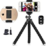 Phone Tripod, UBeesize Portable and Adjustable Camera Stand Holder with Wireless Remote and Universal Clip, Compatible with i