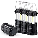 4 Pack Solar USB Rechargeable 3 AA Power Brightest COB LED Camping Lantern with Magnetic Base, Charging for Android, Waterpro