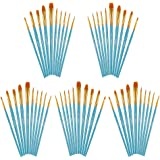 Artecho Paint Brushes Set, 5 Packs/50 pcs Art Brushes for All Levels and Purpose Watercolor Oil Acrylic Gouache Painting, Pre