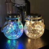 Mr.do® Solar Lights Outdoor Fairy Garden Christmas Lanterns Light Crack Design Glass Jar 30 LED Waterproof Hanging Lamp for P