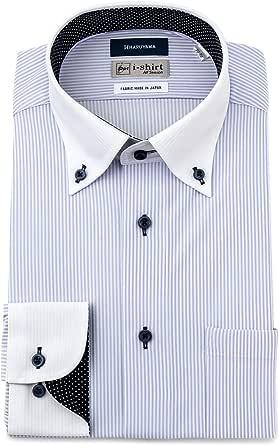 [アイシャツ] i-shirt ボタンダウン 完全ノーアイロン ストレッチ 超速乾 スリムフィット 長袖 アイシャツ ワイシャツ メンズ