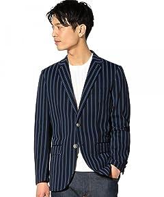 Green Label Relaxing Cotton Polyester Stripe Blazer