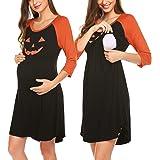 Ekouaer Women's Maternity Dress Nursing Nightgown for Breastfeeding Nightshirt Sleepwear S-XL