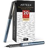ARTEZA Rollerball Pens Fine Point, Set of 20 Black Liquid Ink, Extra Fine 0.5 Mm Needle Tip Pen, Make Precise Lines for Writi