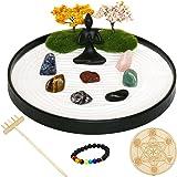 Japanese Zen Garden kit for Desk - Mini Crystal Rock Sand Garden - with Yoga Statue Chakra Stones Set White Sand Zen rake Acc