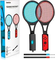 innoAura Nintendo switch Joy-Con用 テニスラケット 2個セット switchテニスゲームラケット 精確対応 高感度 臨場感 (ブラック)