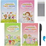 Sank Magic Practice Copybook, Number Tracing Book for Preschoolers with Pen,Magic Calligraphy That Can Be Reused Handwriting