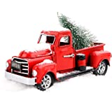 """WENXUAN Vintage Red Truck Decor 6.7"""" Handcrafted Red Metal Truck Car Model for Christmas Decoration Table Decoration"""