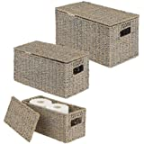 mDesign Natural Woven Seagrass Closet Storage Organizer Basket Bin with Removeable Lids to use in Closet, Bedroom, Bathroom,