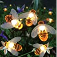 Semintech Solar String Lights with 20LED Outdoor Waterproof Simulation Honey Bees Decor for Garden Xmas Decorations Warm Whit