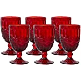 Colored Water Goblet - 8.5 Ounce Vintage-Inspired Pattern Glass Wedding Goblet (Red)