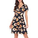 AUQCO Womens Wrap Dress Short Sleeve Deep V Neck Unique Casual Flared Midi Dresses