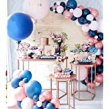Soonlyn Blue Balloons 100 Pack Light Blue and Silver Balloons White Navy Blue Balloons Arch Kit for Baby Shower Birthday Part